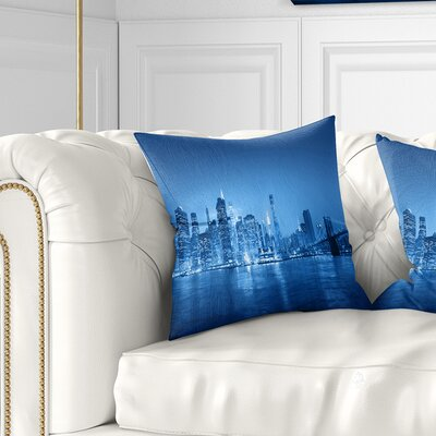 Panorama of New York City Cityscape Pillow Size: 16 x 16, Product Type: Throw Pillow