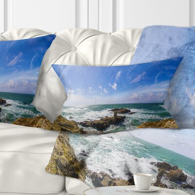 Distant Planet System from Cliffs Seashore Pillow Size: 12 x 20, Product Type: Lumbar Pillow