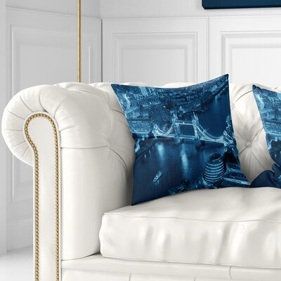London Night Aerial View Cityscape Pillow Size: 18 x 18, Product Type: Throw Pillow