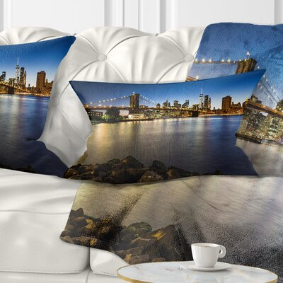 Distant View of Brooklyn Bridge Cityscape Pillow Size: 12 x 20, Product Type: Lumbar Pillow
