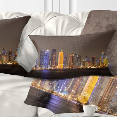 Doha City Skyline at Night Qatar Cityscape Pillow Size: 12 x 20, Product Type: Lumbar Pillow