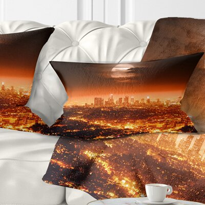 Dramatic Full Moon over Los Angeles Cityscape Pillow Size: 12 x 20, Product Type: Lumbar Pillow