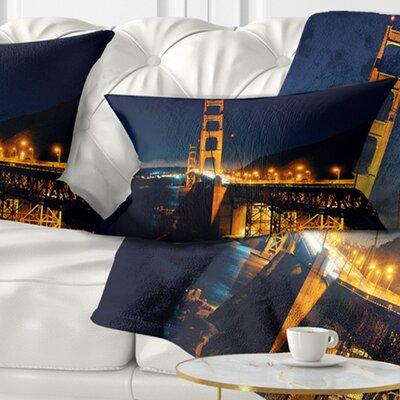 Gate at Night Sea Bridge Pillow Size: 12 x 20, Product Type: Lumbar Pillow