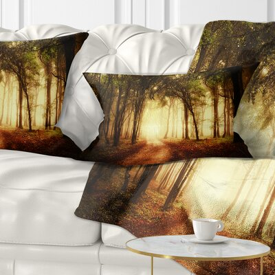 Forest in Fall Morning Landscape Photography Pillow Size: 12 x 20, Product Type: Lumbar Pillow