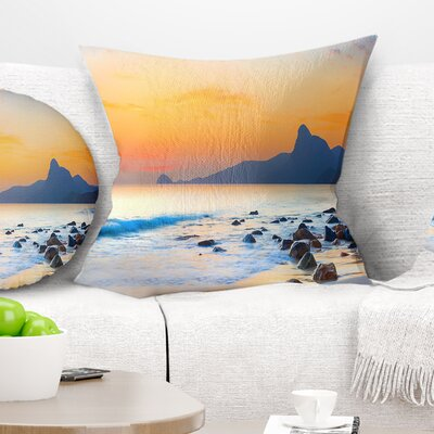 Stone in the Beach at Sunset Seashore Photo Pillow Size: 18 x 18, Product Type: Throw Pillow