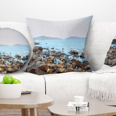 Stones on Shore of Port Shelter HK Seashore Pillow Size: 16 x 16, Product Type: Throw Pillow