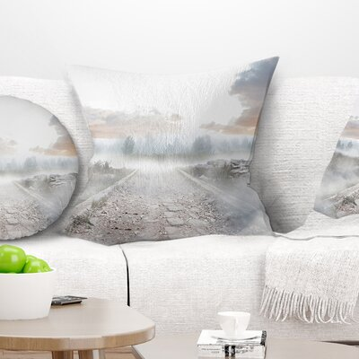 Stony Path to Misty Forest Landscape Photo Pillow Size: 18 x 18, Product Type: Throw Pillow