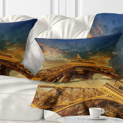 Dramatic Sky Above Paris Paris Eiffel Towerin Paris Cityscape Pillow Size: 12 x 20, Product Type: Lumbar Pillow