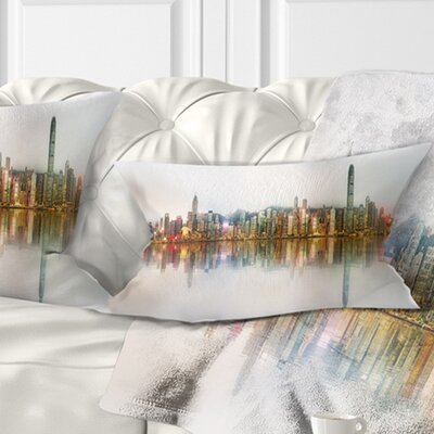 Singapore Financial District Panorama Cityscape Pillow Size: 12 x 20, Product Type: Lumbar Pillow