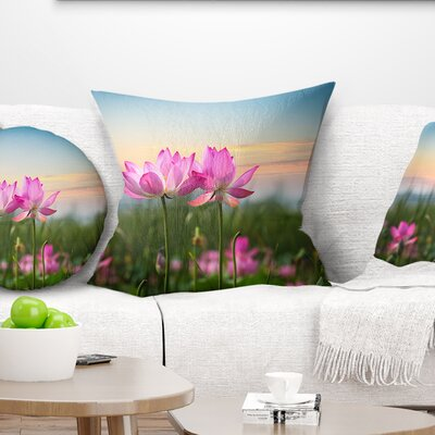 Blooming Lotus Flowers at Sunset Floral Photo Pillow Size: 26 x 26, Product Type: Euro Pillow