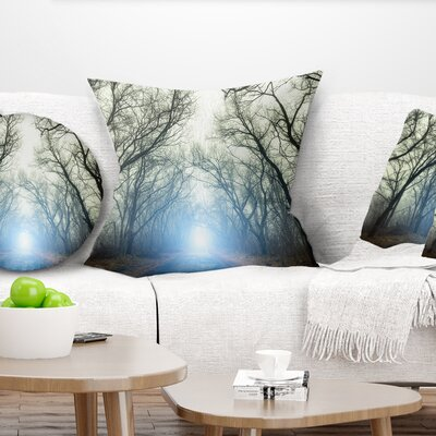 Light in Foggy Autumn Landscape Photo Pillow Size: 16 x 16, Product Type: Throw Pillow