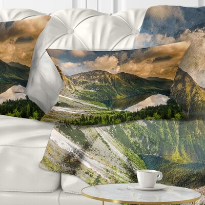 Dramatic Sky over Alpine Lake Landscape Printed Pillow Size: 12 x 20, Product Type: Lumbar Pillow
