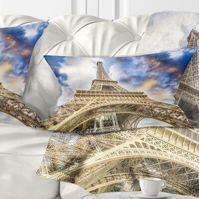 Dramatic Sky over Ground View of Paris Paris Eiffel Tower Cityscape Pillow Size: 12 x 20, Product Type: Lumbar Pillow
