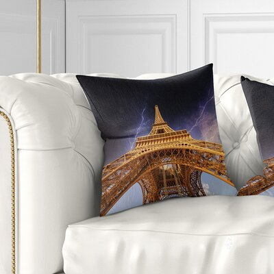 Storm above Eiffel Towerin Paris Cityscape Pillow Size: 18 x 18, Product Type: Throw Pillow