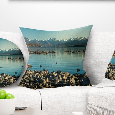 Waters in Rocky Beach Panorama Landscape Printed Pillow Size: 18 x 18, Product Type: Throw Pillow