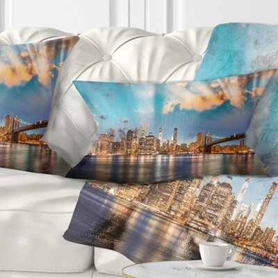 Dramatic Sky over Manhattan City Cityscape Pillow Size: 12 x 20, Product Type: Lumbar Pillow