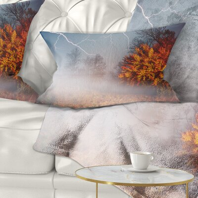 Storm and Lighting in Autumn Forest Landscape Photography Pillow Size: 12 x 20, Product Type: Lumbar pillow