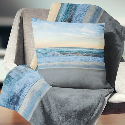 Splashing Scene Beach Seashore Pillow Size: 16 x 16, Product Type: Throw Pillow