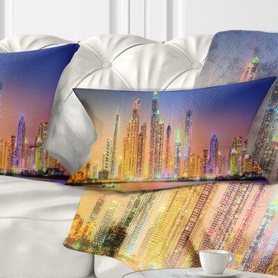 Dubai Marina Skyscrapers Panorama Cityscape Pillow Size: 12 x 20, Product Type: Lumbar Pillow