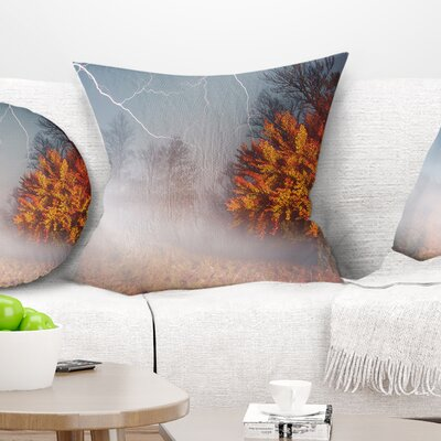 Storm and Lighting in Autumn Forest Landscape Photography Pillow Size: 16 x 16, Product Type: Throw Pillow