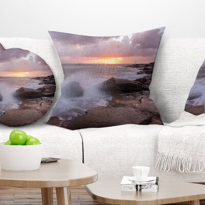 Stormy Waves in Beautiful Australia Beach Seashore Pillow Size: 18 x 18, Product Type: Throw Pillow