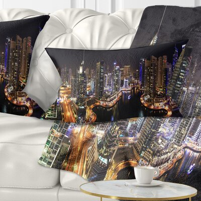 Dubai Marina View at Night Cityscape Pillow Size: 12 x 20, Product Type: Lumbar Pillow