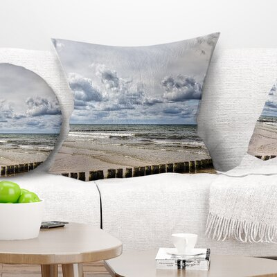 Stormy Weather in Hiddensee Sea Seascape Pillow Size: 26 x 26, Product Type: Euro Pillow
