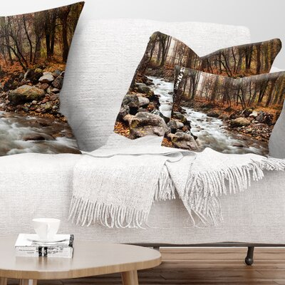Stream in Autumn Forest Landscape Photography Pillow Size: 12 x 20, Product Type: Lumbar pillow