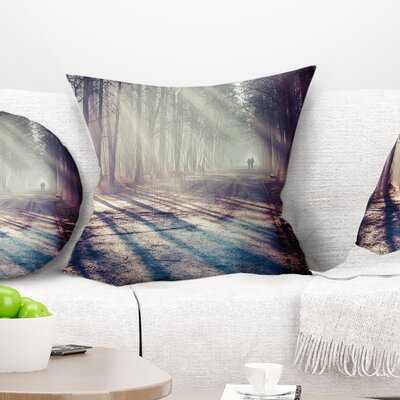 Stream in Autumn Forest Landscape Photography Pillow Size: 16 x 16, Product Type: Throw Pillow