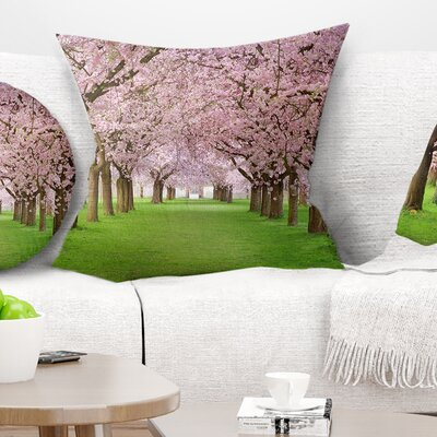 Stunning Cherry Blossoms Plenitude Landscape Printed Pillow Size: 18 x 18, Product Type: Throw Pillow