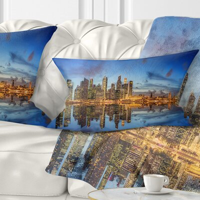 Singapore Skyline and View of Marina Bay Cityscape Pillow Size: 12 x 20, Product Type: Lumbar Pillow