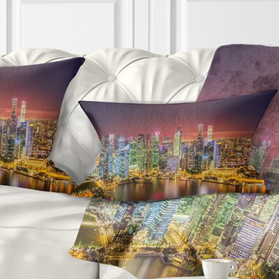 Singapore Skyline View of Marina Bay Cityscape Pillow Size: 12 x 20, Product Type: Lumbar Pillow