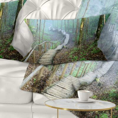 Stairway Leading to Foggy Forest Landscape Photography Pillow Size: 12 x 20, Product Type: Lumbar Pillow
