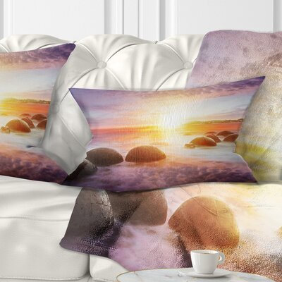 Evening Sun over Moeraki Boulders Seashore Photo Pillow Size: 12 x 20, Product Type: Lumbar Pillow