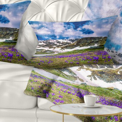 Spring Blooming Crocus Flowers Landscape Printed Pillow Size: 12 x 20, Product Type: Lumbar Pillow