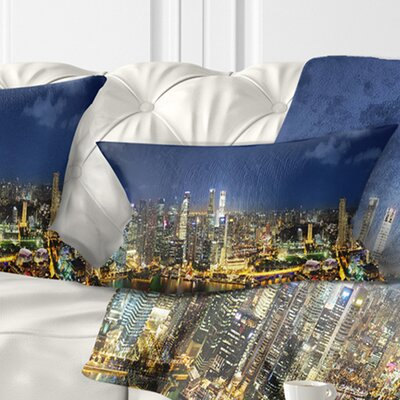 Singapore Skyscrapers Panorama Cityscape Pillow Size: 12 x 20, Product Type: Lumbar Pillow