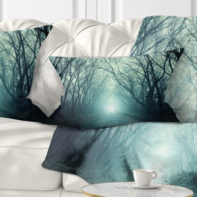 Fall Forest Path with Light Landscape Photography Pillow Size: 12 x 20, Product Type: Lumbar Pillow