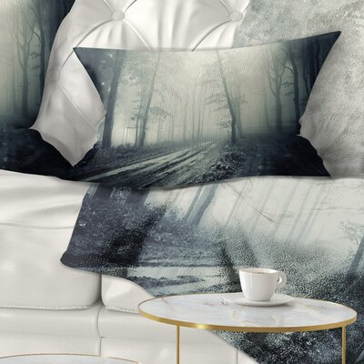 Spooky Dark Forest with Fog Landscape Photography Pillow Size: 12 x 20, Product Type: Lumbar Pillow