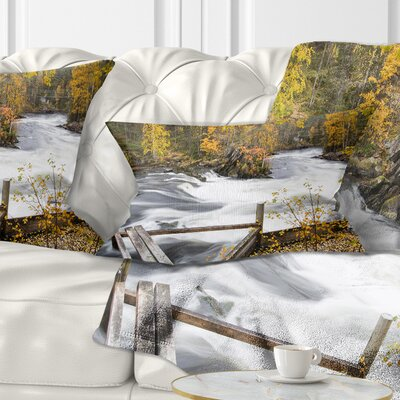 Fall River over Riffles and Rocks Landscape Photography Pillow Size: 12 x 20, Product Type: Lumbar Pillow