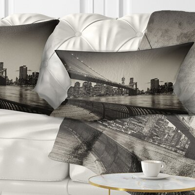 Famous Landmark of Brooklyn Bridge Cityscape Pillow Size: 12 x 20, Product Type: Lumbar Pillow