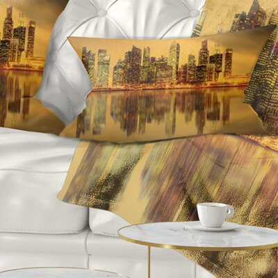 Singapore Marina Bay Skyscrapers Cityscape Pillow Size: 12 x 20, Product Type: Lumbar Pillow