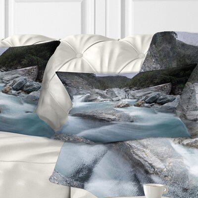 Slow Motion Mountain River and Rocks Landscape Printed Pillow Size: 12 x 20, Product Type: Lumbar Pillow