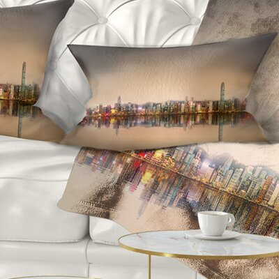 Singapore Financial District Skyscrapers Cityscape Pillow Size: 12 x 20, Product Type: Lumbar Pillow