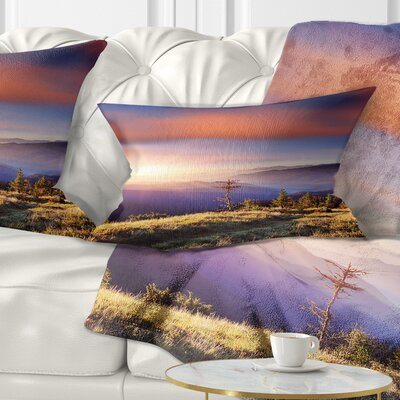 Fantastic Sunrise and Dead Tree Landscape Photo Pillow Size: 12 x 20, Product Type: Lumbar Pillow