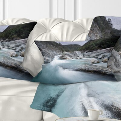 Slow Motion Mountain River in Blue Seashore Pillow Size: 12 x 20, Product Type: Lumbar Pillow