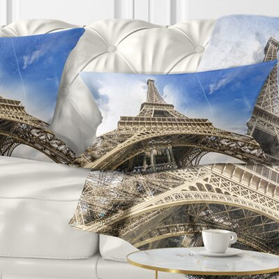 Fantastic View of Paris Paris Eiffel Towerfrom Ground Cityscape Pillow Size: 12 x 20, Product Type: Lumbar Pillow
