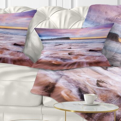 Fascinating Seashore with Waters Seashore Pillow Size: 12 x 20, Product Type: Lumbar Pillow