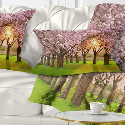 Fascinating Springtime Cherry Scenery Landscape Printed Pillow Size: 12 x 20, Product Type: Lumbar Pillow
