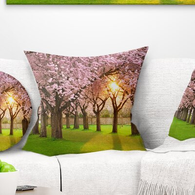 Fascinating Springtime Cherry Scenery Landscape Printed Pillow Size: 18 x 18, Product Type: Throw Pillow
