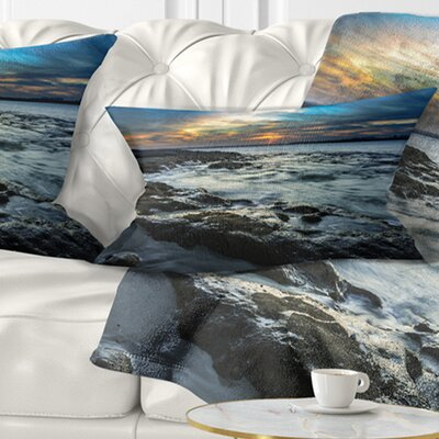 Fascinating Sunset at Australia Coastline Seashore Pillow Size: 12 x 20, Product Type: Lumbar Pillow